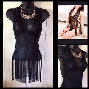 Sexy Black Lace Tassel Halter Bra/Panty Top OS NEW